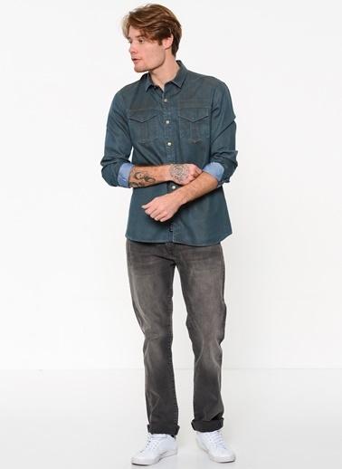 Mavi Cep Detaylı Uzun Kollu Gömlek İndigo